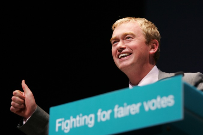 Farron at the September 2010 rally. Possibly after nailing the Coulson joke.  Image by Alex Folkes/Fishnik Photography