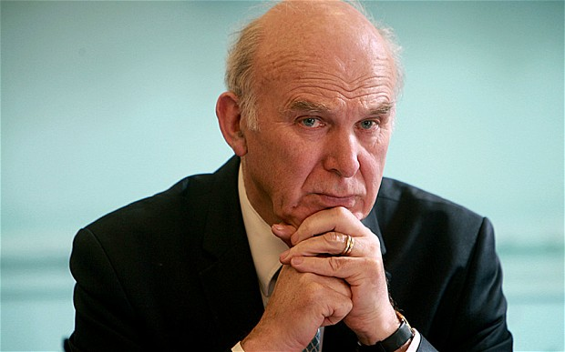 Vince Cable's unimpressed face. Worn that morning.